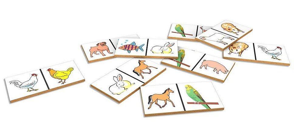 Dominó Educativo Animais Domésticos Mdf 28 Peças