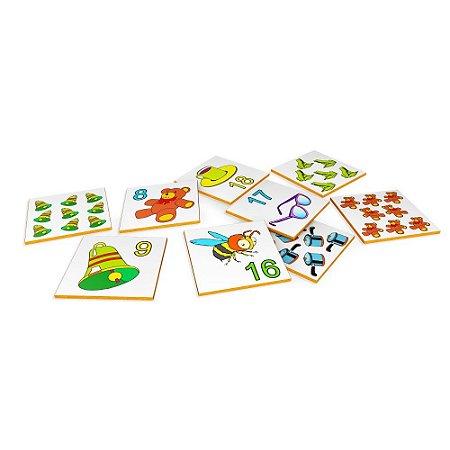 Brinquedo Educativo Memória Numerais E Quantidades MDF 40 Peças - CARLU