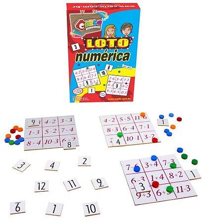 Brinquedo Educativo Loto Numerica Mdf 80 Peças - CARLU