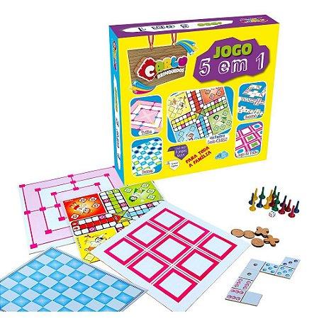 Jogo 5 Em 1 Em Mdf - Dama Trilha Jogo da Velha Dominó Educativo e Ludo.