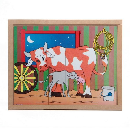 Quebra Cabeça Animais E Filhotes Vaca Base Mdf