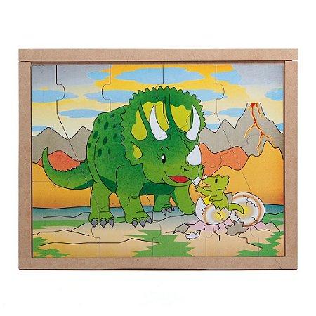 Brinquedo Educativo Quebra Cabeça Animais E Filhotes Dinossauro Base Mdf - CARLU