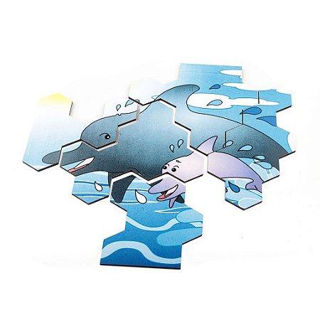 Quebra Cabeça Animais E Filhotes Golfinho Base Mdf