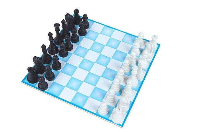 Jogo De Xadrez 20x20cm Mdf Rei 5cm 32 Peças