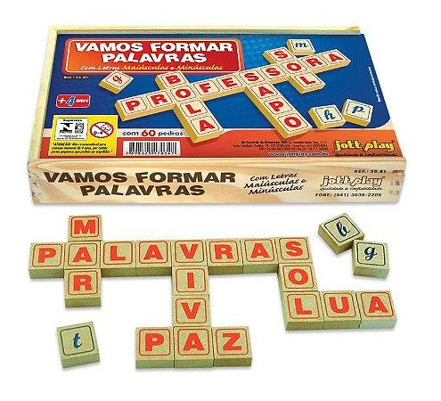Brinquedo Educativo Vamos Formar Palavras 60 Pedras Madeira - JOTTPLAY