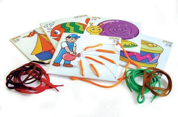 Brinquedo Educativo Alinhavos Em E.V.A Conjunto 5 Placas Com Cadarços   - JOTTPLAY