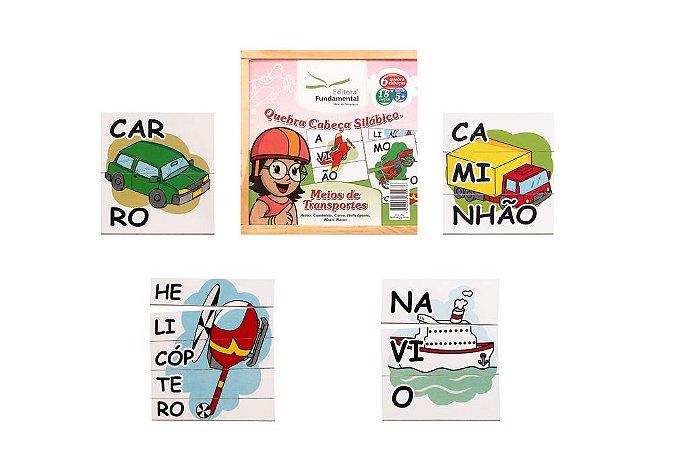 Brinquedo Educativo Quebra Cabeça Silabico Meios De Transportes Com 18 Peças - FUNDAMENTAL
