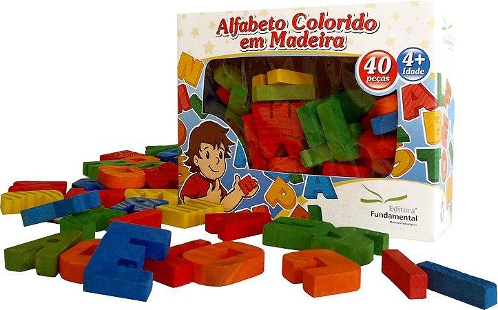 Alfabeto Móvel Colorido Em Madeira 40 Peças