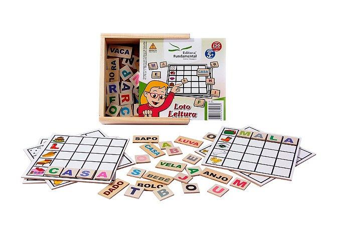 Brinquedo Educativo Loto Leitura 6 Placas + 30 Palavras 120 Letras Coloridas Em Mdf - FUNDAMENTAL