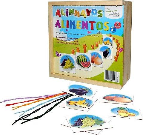 Brinquedo Educativo Alinhavos Alimentos Com 06 Peças + 06 Cadarços - FUNDAMENTAL
