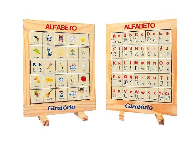 Jogo Educativo Alfabeto Giratorio Quadro Tamanho 32x24x2 Cm - FUNDAMENTAL