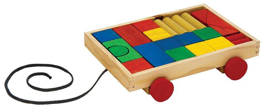 Brinquedo Educativo Transblocos Carrinho Com 25 Blocos Coloridos - FUNDAMENTAL