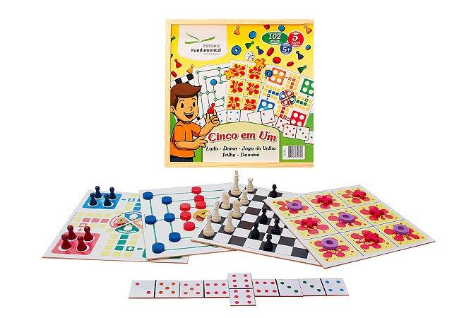 Brinquedo Educativo Jogo 5 Em 1 Dama Trilha Ludo Jogo Velha E Dominó Madeira - FUNDAMENTAL