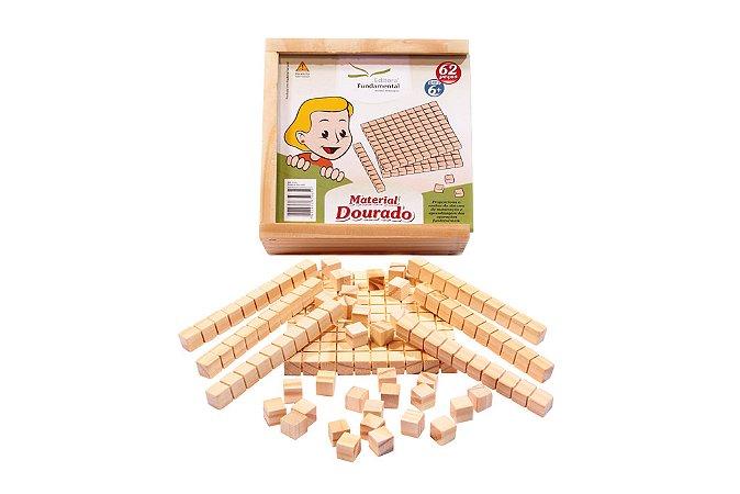 Material Dourado Individual Com 62 Peças Madeira
