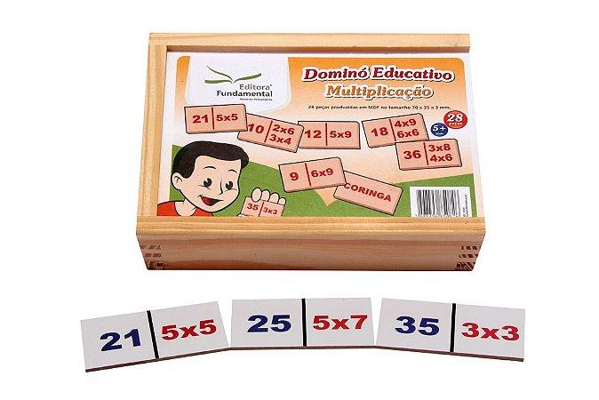 Brinquedo Educativo Dominó Multiplicaçao Jogo Com 28 Peças - FUNDAMENTAL