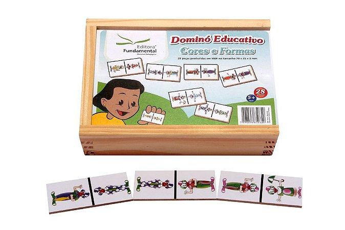 Brinquedo Educativo Dominó Cores E Formas Jogo Com 28 Peças - FUNDAMENTAL