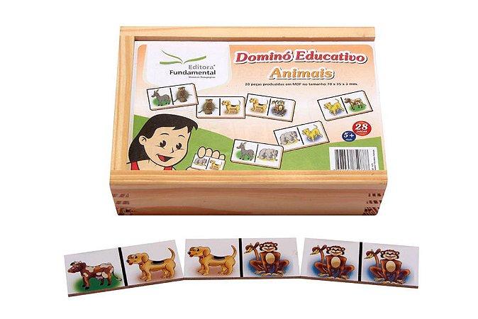 Brinquedo Educativo Dominó Animais Jogo Com 28 Peças - FUNDAMENTAL