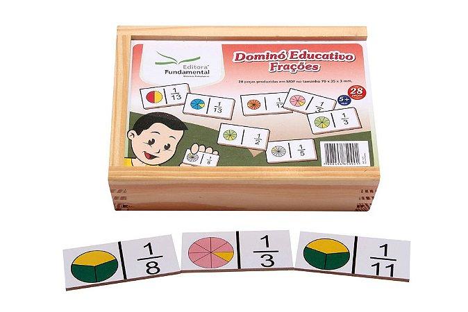 Dominó Educativo Frações Jogo Com 28 Peças