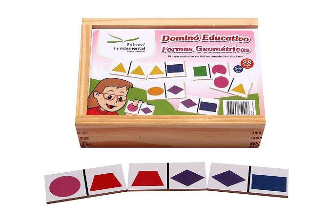 Dominó Educativo Formas Geométricas Jogo Com 28 Peças