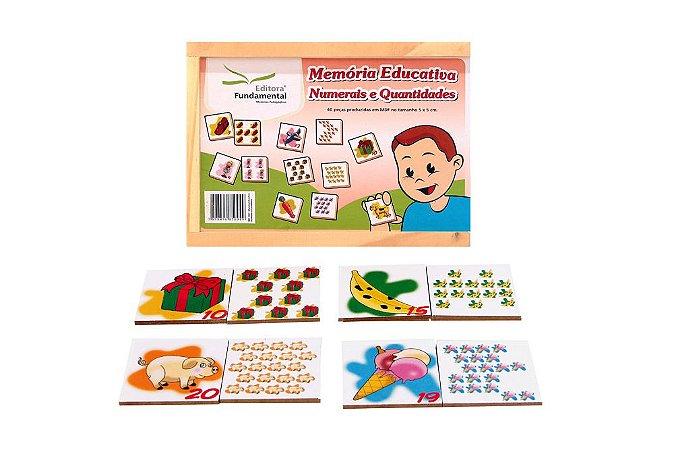 Memória Educativa Numerais E Quantidades Jogo Com 40 Peças