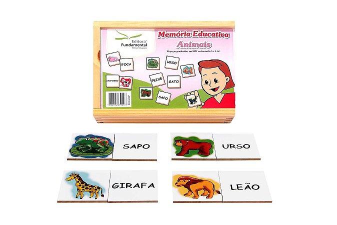 Memória Educativa Animais Jogo Com 40 Peças