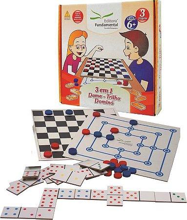 Jogo 3 Em 1 Dama Trilha E Dominó Educativo Caixa Cartonada