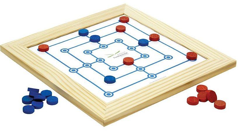 Jogo De Trilha Com Moldura Tabuleiro 31x31 Cm