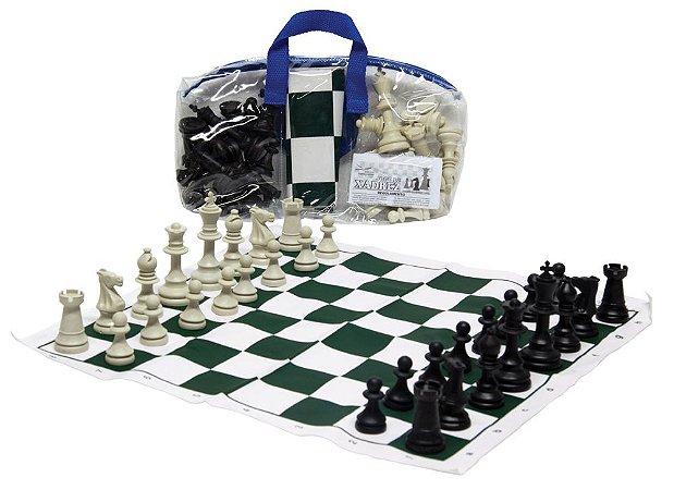 Brinquedo Educativo Jogo De Xadrez Escolar 44x44 Tab. Em Napa Estojo Pvc + Regras - FUNDAMENTAL