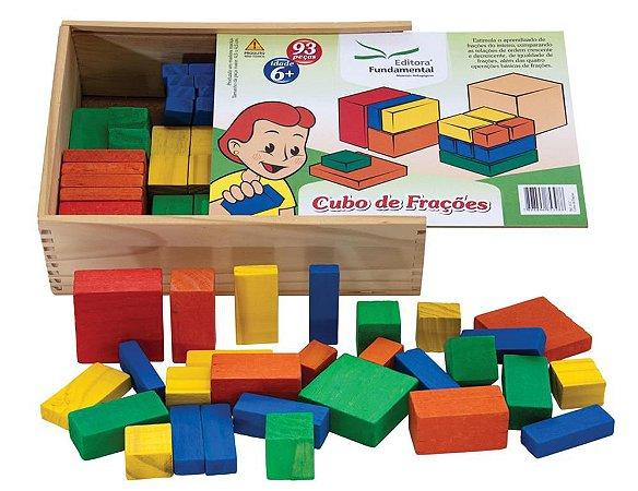 Cubo De Frações 93 Peças Em Madeira Colorida