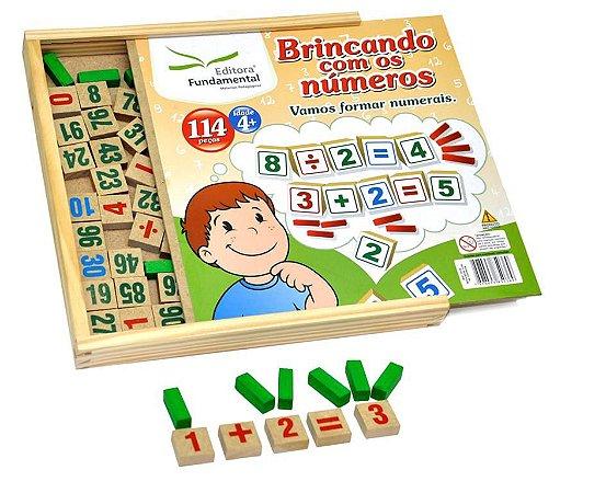 Brinquedo Educativo Brincando Com Os Numeros 114 Peças Em Madeira - FUNDAMENTAL