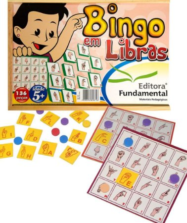 Brinquedo Educativo Bingo De Libras Em Madeira Com 136 Peças - FUNDAMENTAL