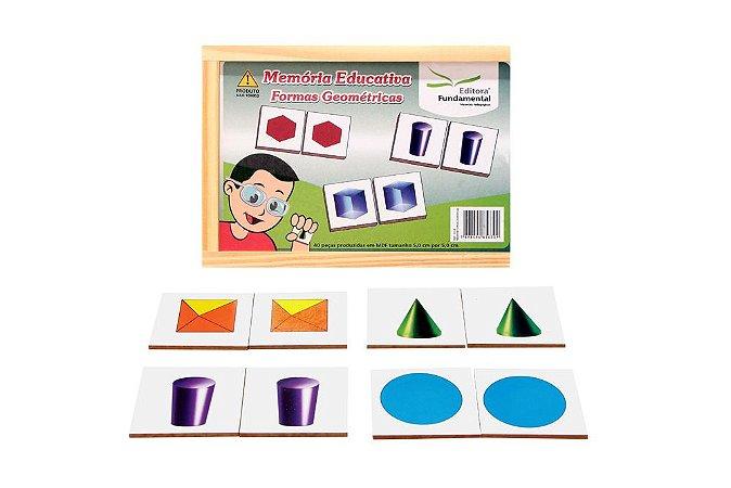 Memória Educativa Formas Geométricas Jogo Com 40 Peças Mdf