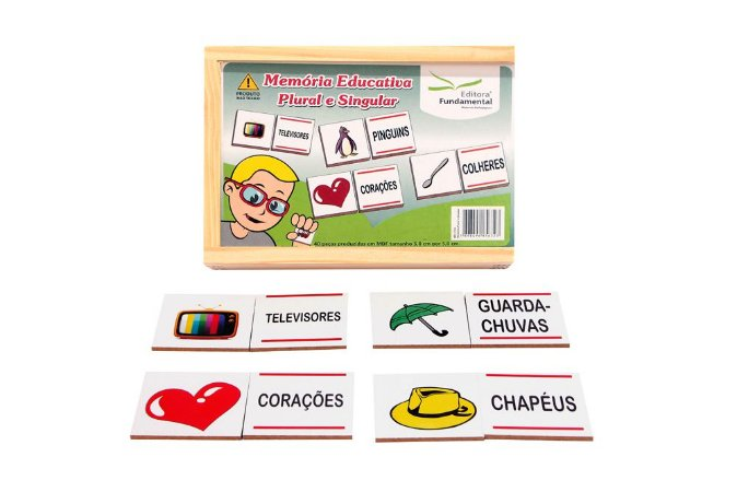 Brinquedo Educativo Memória Plural E Singular Jogo Com 40 Peças Mdf - FUNDAMENTAL