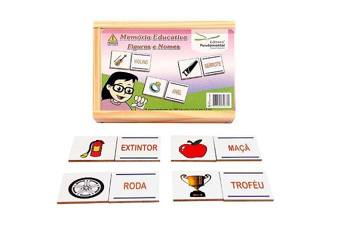 Brinquedo Educativo Memória Figuras E Nomes Jogo Com 40 Peças - FUNDAMENTAL