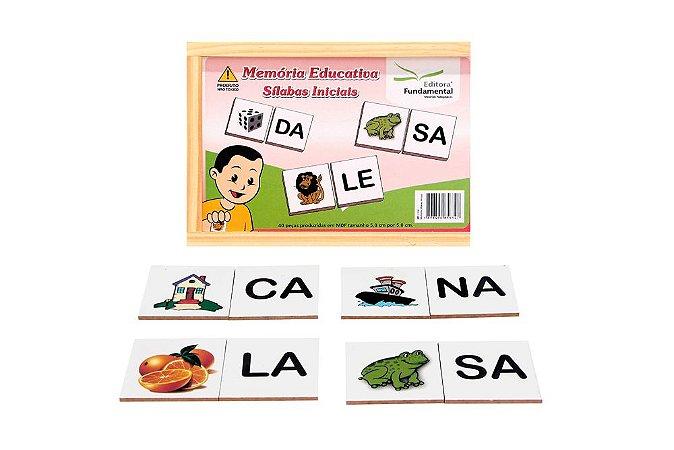 Brinquedo Educativo Memória Silabas Iniciais Jogo Com 40 Peças - FUNDAMENTAL