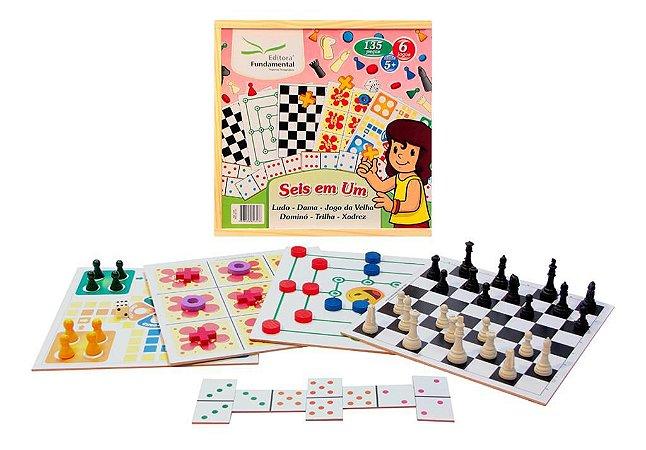 Jogo 6 Em 1 Dama Trilha Ludo Jogo Da Velha Dominó Educativo E Xadrez