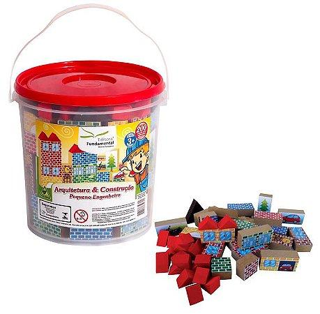 Brinquedo Educativo Arquitetura E Construçao Balde Com 200 Peças - FUNDAMENTAL