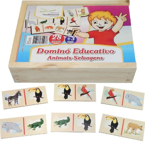 Brinquedo Educativo Dominó Animais Selvagens - FUNDAMENTAL