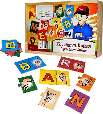 Encaixe As Letras Alfabeto Em Libras Em MDF Com 54 Peças