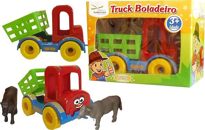 Truck Boiadeiro Caminhao Em Plastico + 02 Boizinhos