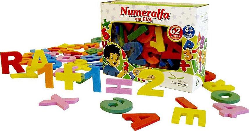 Brinquedo Educativo Numeralfa Em E.V.A  62 Peças Cartonada - FUNDAMENTAL