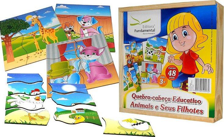 Brinquedo Educativo Quebra Cabeça Animais E Filhotes Com 10 - FUNDAMENTAL