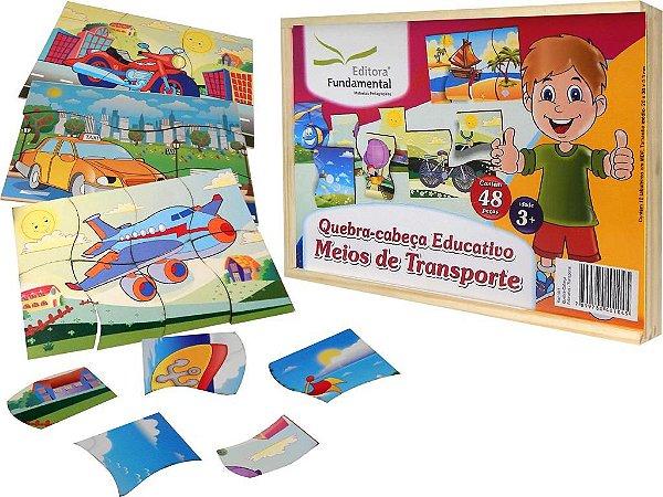 Brinquedo Educativo Quebra Cabeça Meios De Transporte Com 10 Unid. - FUNDAMENTAL