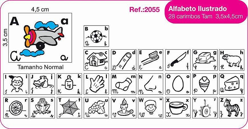 Carimbos Pedagógicos Alfabeto Ilustrado 28 Unidades - Fundamental