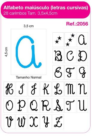 Carimbos Alfabeto Maiúsculo Letras Cursivas 28 Unidades