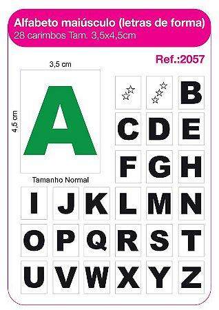 Carimbos Alfabeto Maiúsculo Letras de Forma 28 Unidades