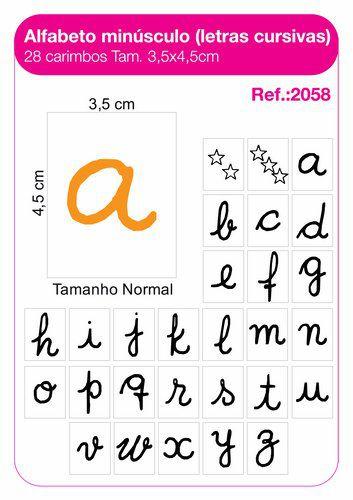 Carimbos Pedagógicos Alfabeto Minúsculo Letras Cursivas 28 Unidades - Fundamental