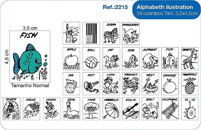 Carimbos Alphabeth Ilustration 28 Unidades