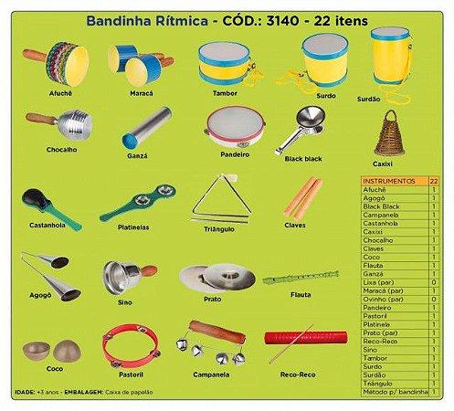 Brinquedo Educativo Bandinha Rítmica 22 Instrumentos Musicais - CARLU