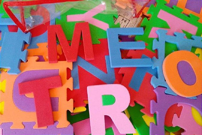 Alfabeto E Números Encaixados EVA Coloridos 36 Placas